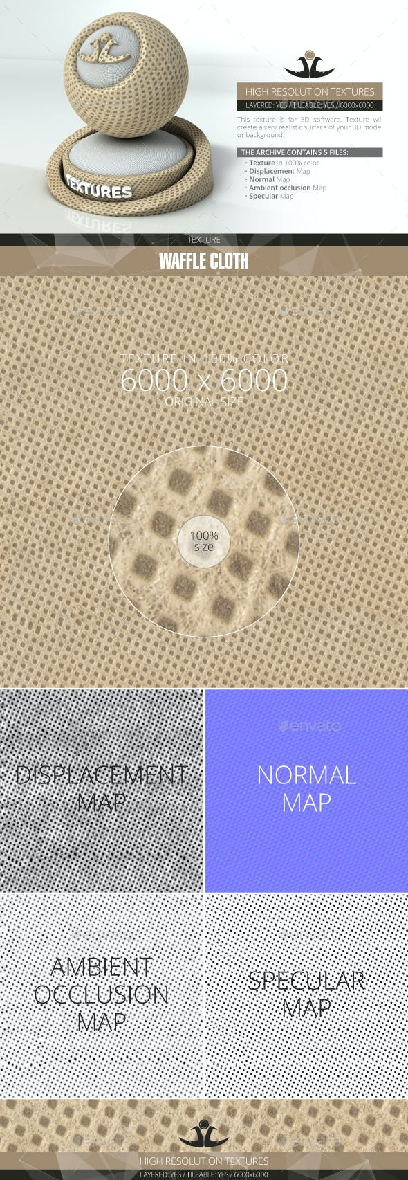 Waffle Cloth - 3DOcean Item for Sale