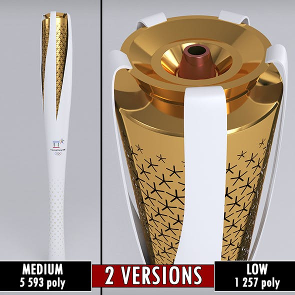Pyeongchang 2018 Olympic Games Torch low poly - 3DOcean Item for Sale