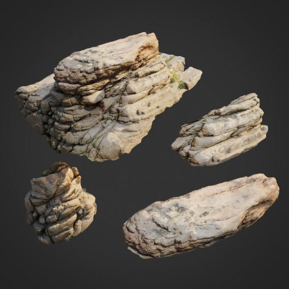 3d scanned nature stone 009 - 3DOcean Item for Sale