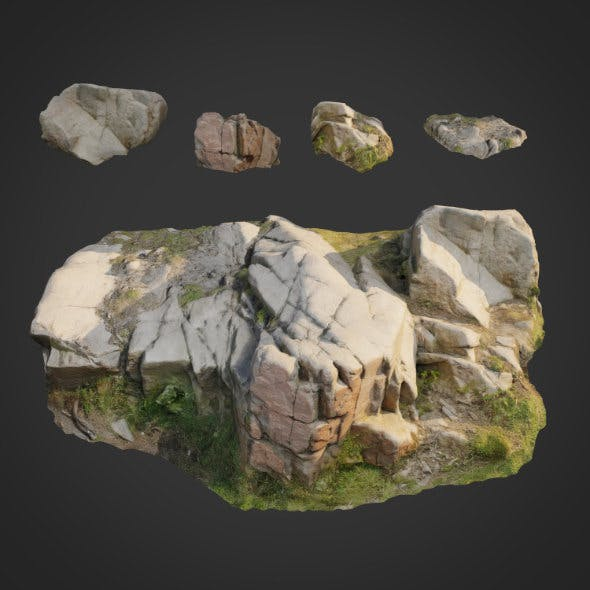 3d scanned nature stone 011 - 3DOcean Item for Sale