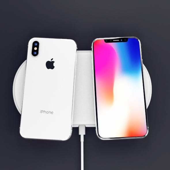 Apple iPhone X Black and White High Poly Model