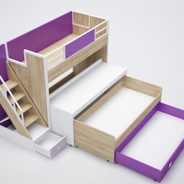 bunk bed, desk, drawer, shelf