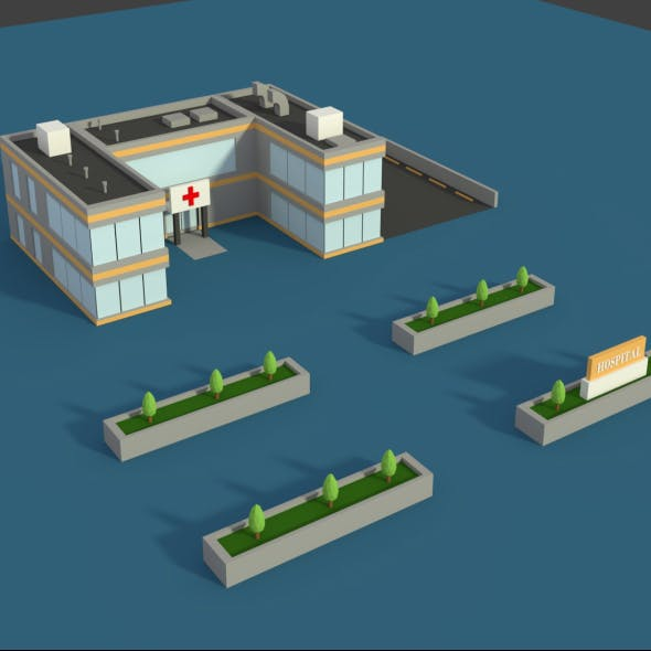 Low Poly Hospital 2 - 3DOcean Item for Sale