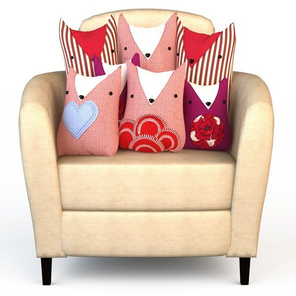 "Chair  Seat and textile set of pillows ""cats"" - 3DOcean Item for Sale"