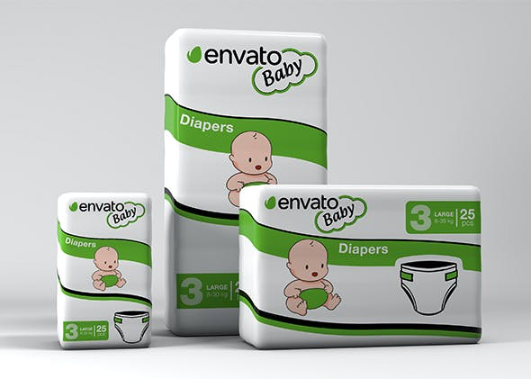 3D Diapers Pack Mockup - 3DOcean Item for Sale