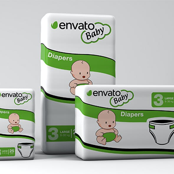 3D Diapers Pack Mockup
