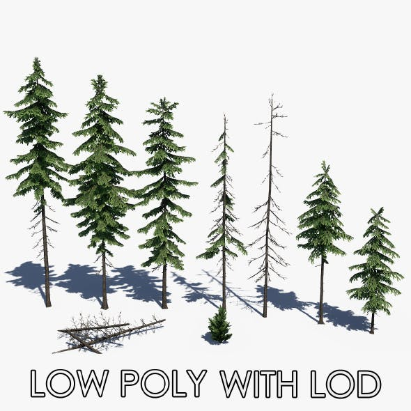 Low Poly Pine Tree Pack