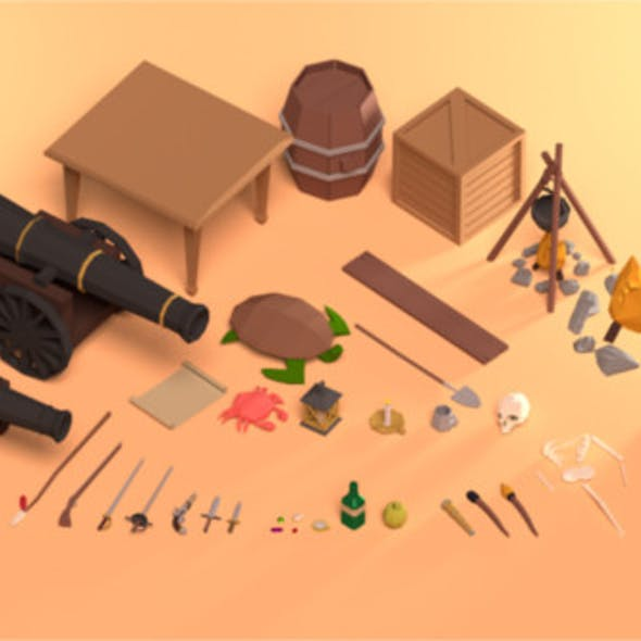 Low Poly Pirate Themed Prop Pack - Game Ready