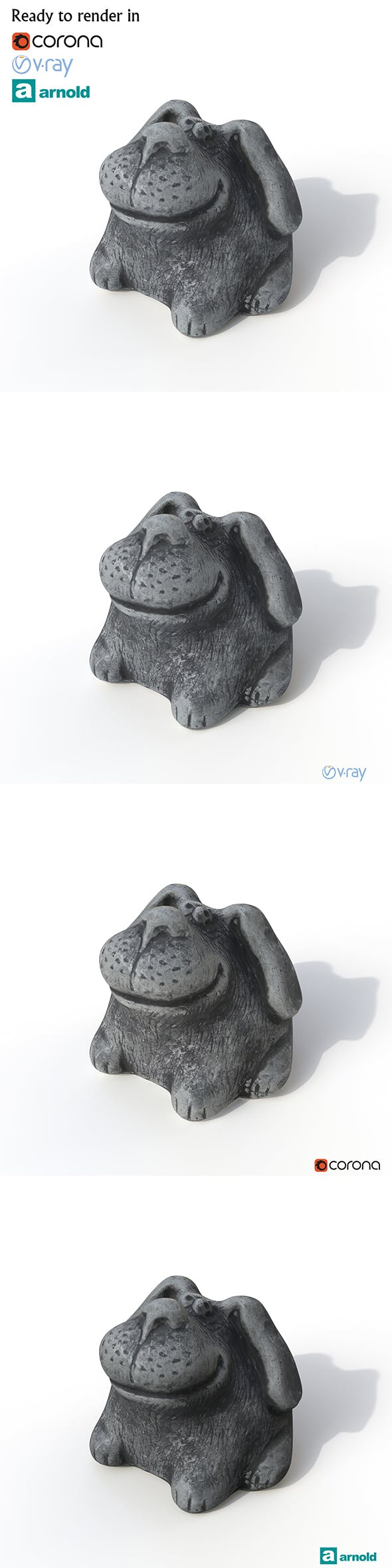 Statuette Dog - 3DOcean Item for Sale