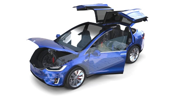 Tesla Model X Blue with interior and chassis - 3DOcean Item for Sale