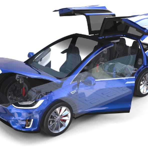 Tesla Model X Blue with interior and chassis