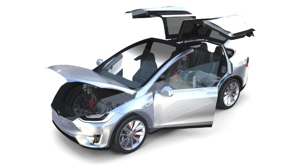 Tesla Model X Silver with interior and chassis - 3DOcean Item for Sale