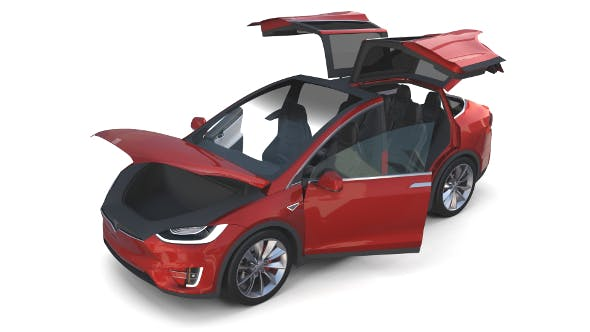 Tesla Model X Red with interior - 3DOcean Item for Sale