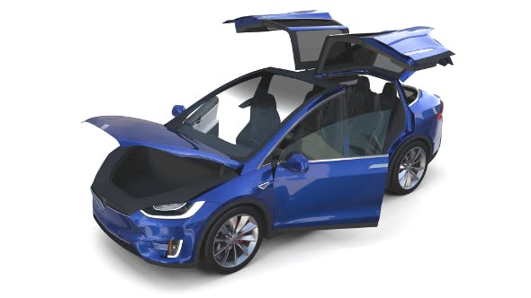 Tesla Model X Blue with interior - 3DOcean Item for Sale