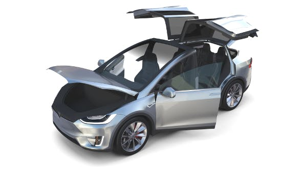 Tesla Model X Silver with interior - 3DOcean Item for Sale