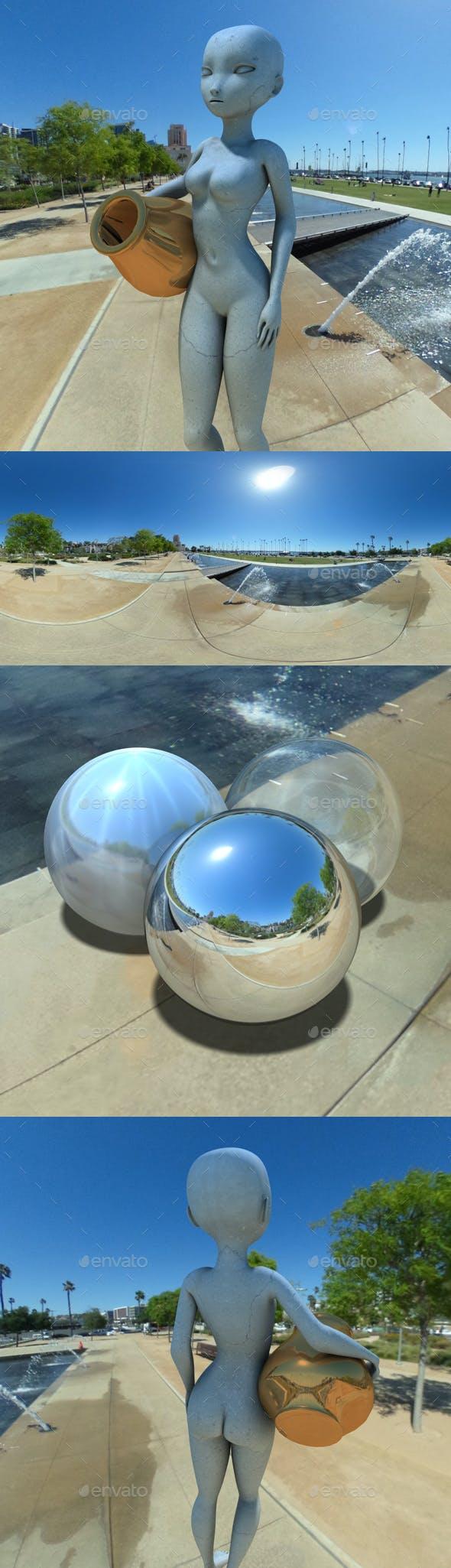 Sunny Urban Water Fountain HDRI - 3DOcean Item for Sale
