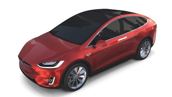 Tesla Model X Red - 3DOcean Item for Sale