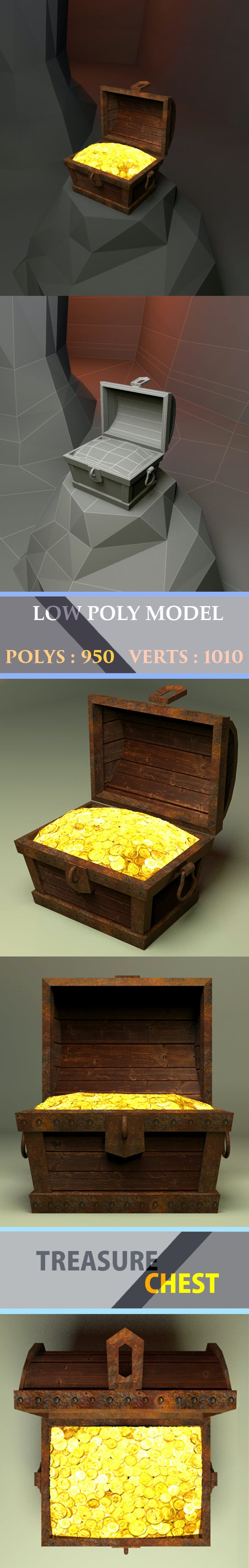 Treasure chest Low Poly - 3DOcean Item for Sale