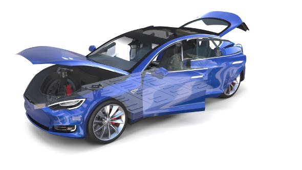Tesla Model S 2016 Blue with interior and chassis - 3DOcean Item for Sale
