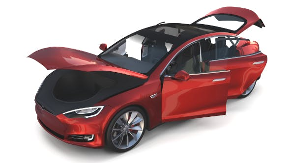 Tesla Model S 2016 Red with interior - 3DOcean Item for Sale