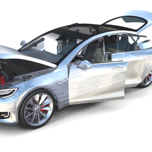 Tesla Model S 2016 Silver with interior and chassis model