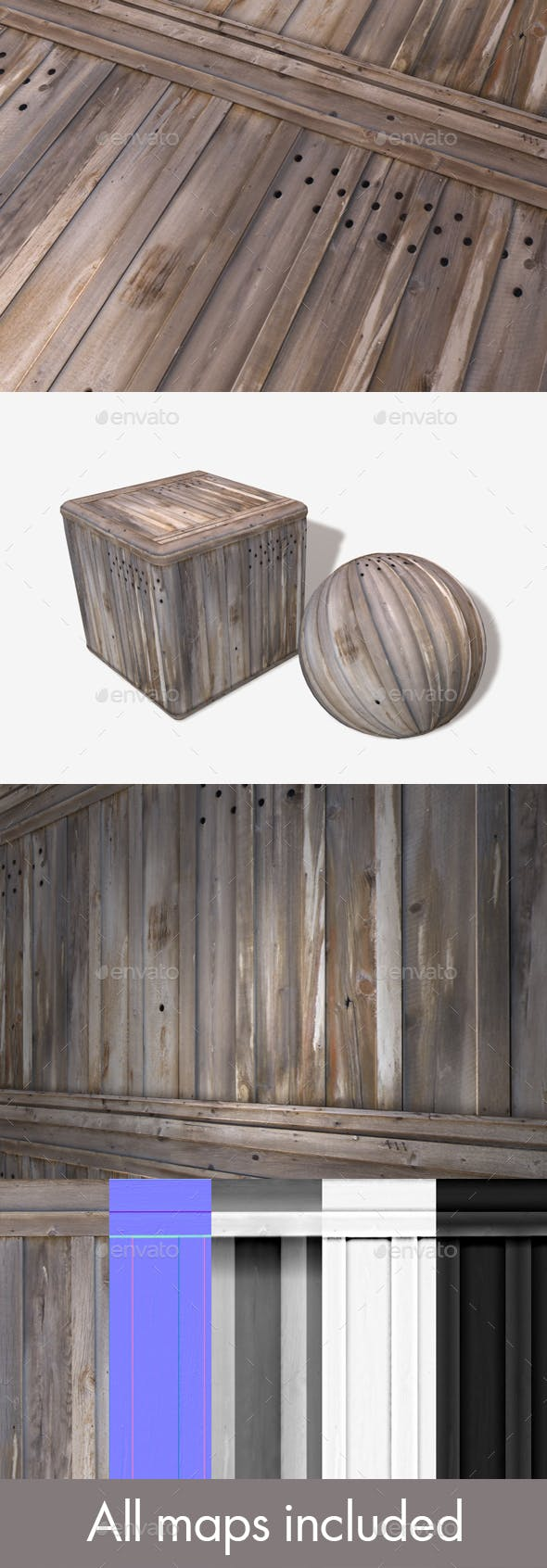 Scrap Wooden Planks Seamless Texture - 3DOcean Item for Sale