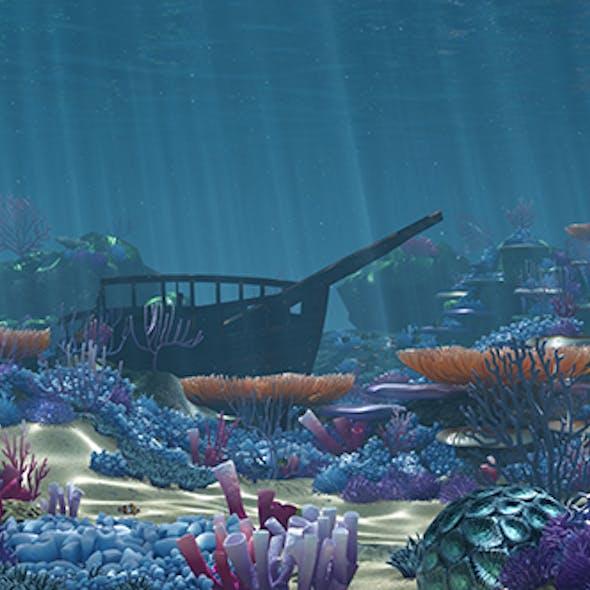 Ocean floor coral reefs cartoon /Underwater/