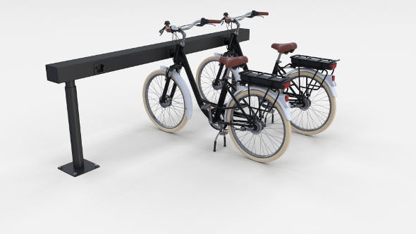 Electric City Bicycle and Station Black - 3DOcean Item for Sale