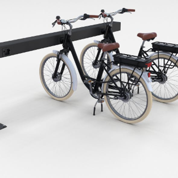 Electric City Bicycle and Station Black