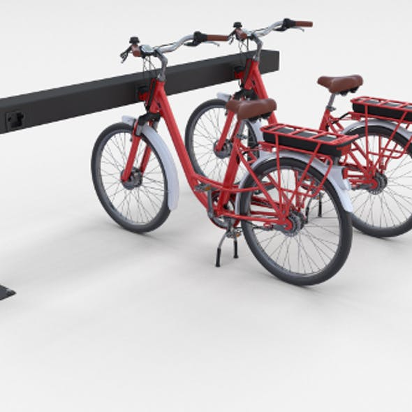 Electric City Bicycle and Station Red