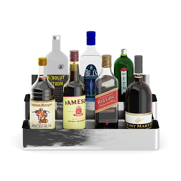 Metal Shelf with Bottles