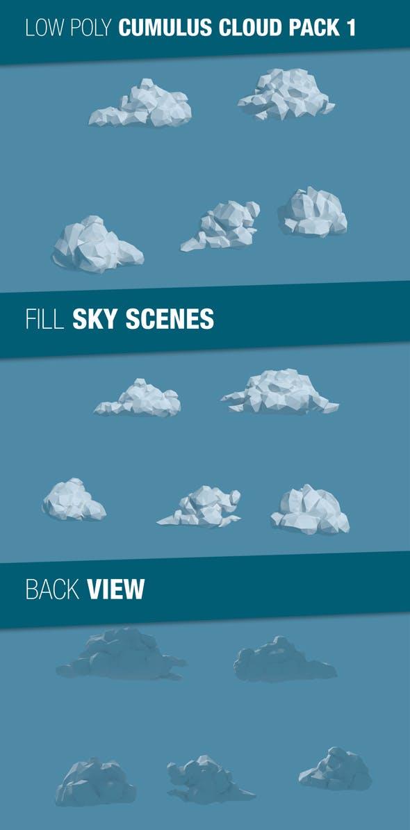 Low Poly Cumulus Cloud Pack 1 - 3DOcean Item for Sale