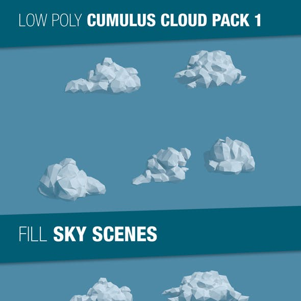 Low Poly Cumulus Cloud Pack 1