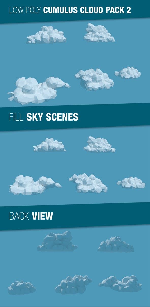 Low Poly Cumulus Clouds Pack 2 - 3DOcean Item for Sale