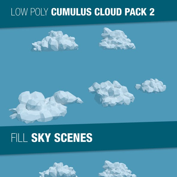 Low Poly Cumulus Clouds Pack 2