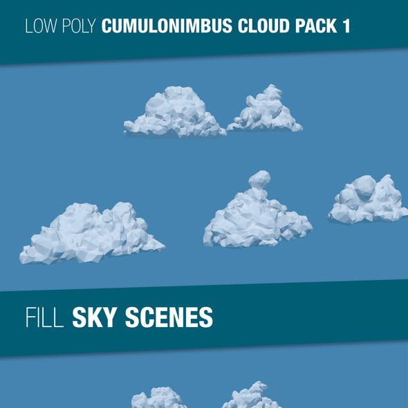 Low Poly Cumulonimbus Clouds Pack 1