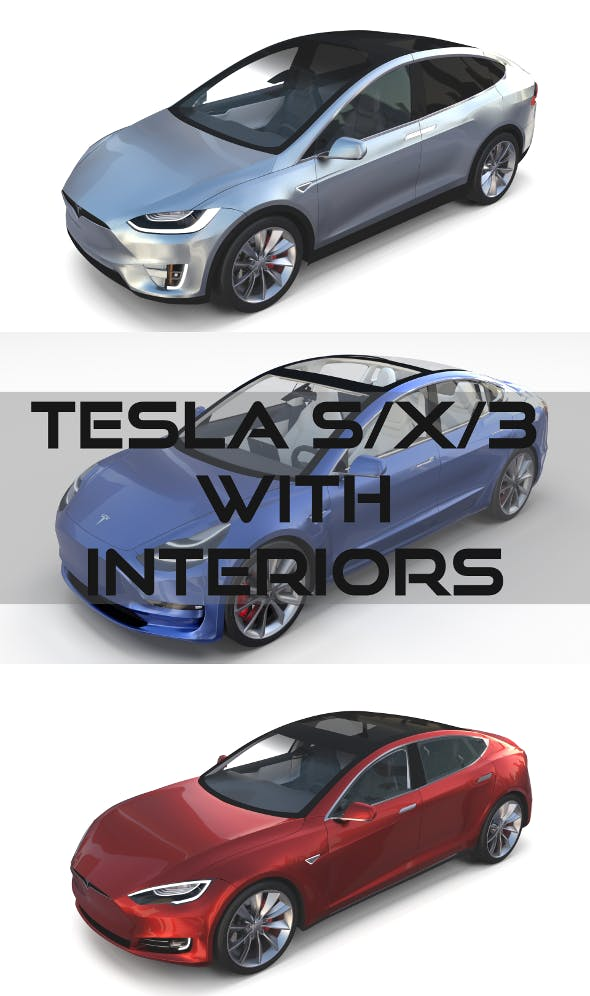 2017 Tesla S-X-3 Collection w interior - 3DOcean Item for Sale
