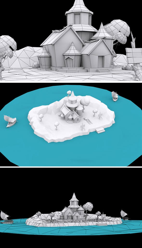 Cartoon Castle 3d Model - 3DOcean Item for Sale