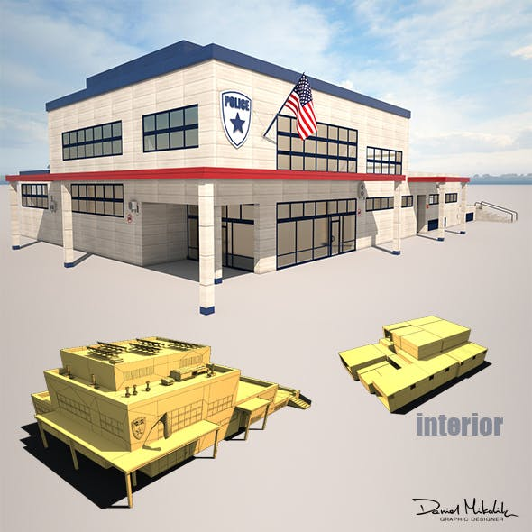 Police Station Low Poly