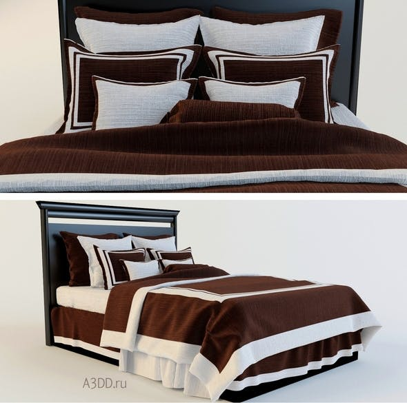 Double Bed Bed Linen  brown - 3DOcean Item for Sale
