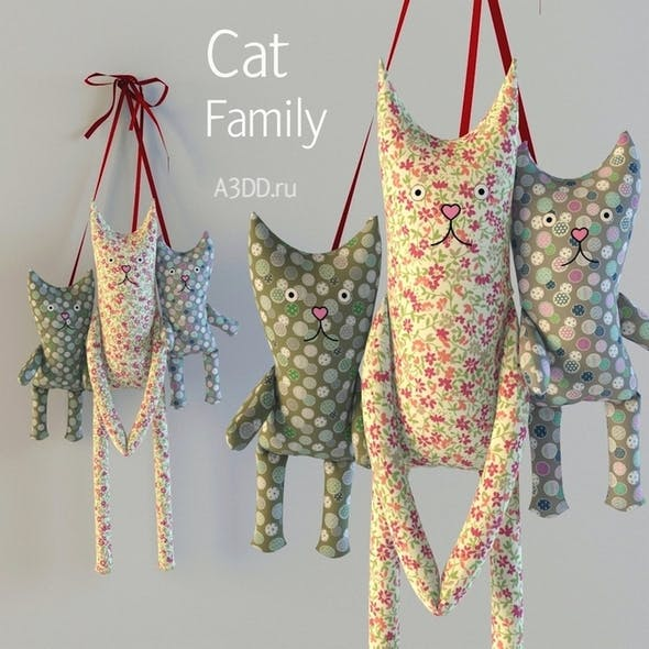 Textile toys, cats, hanging
