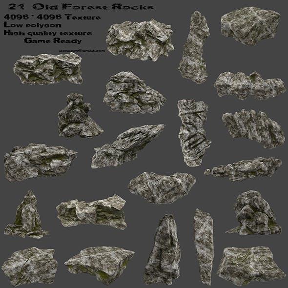 old forest rocks - 3DOcean Item for Sale