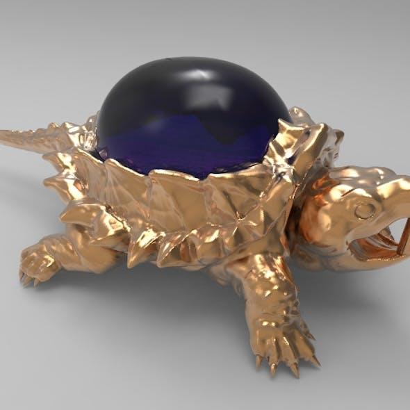Jewelry pendant turtle with stone