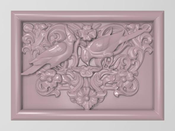 Cockatoo parrots couple base relief for CNC - 3DOcean Item for Sale