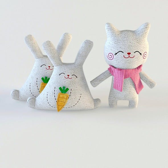 Toys cat and rabbit textile