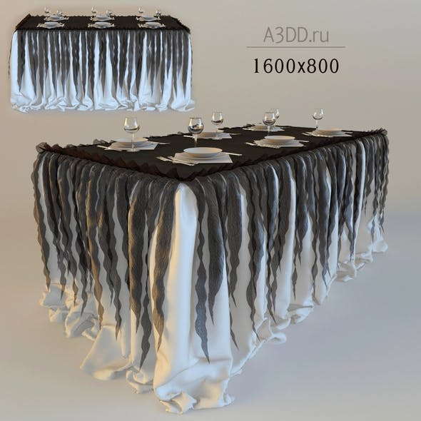drapery standing buffet table - 3DOcean Item for Sale