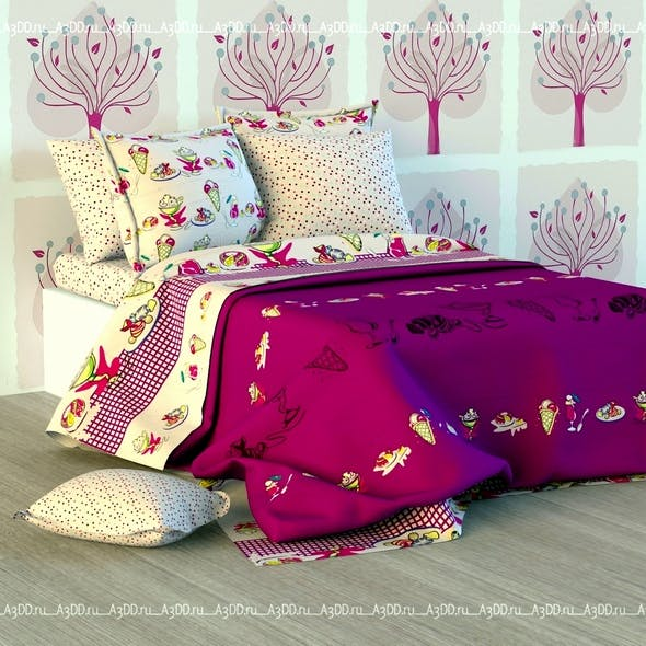 Double Bed Bed Linen - 3DOcean Item for Sale