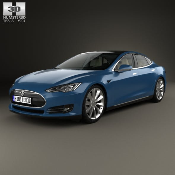 Tesla Model S with HQ interior 2014 - 3DOcean Item for Sale