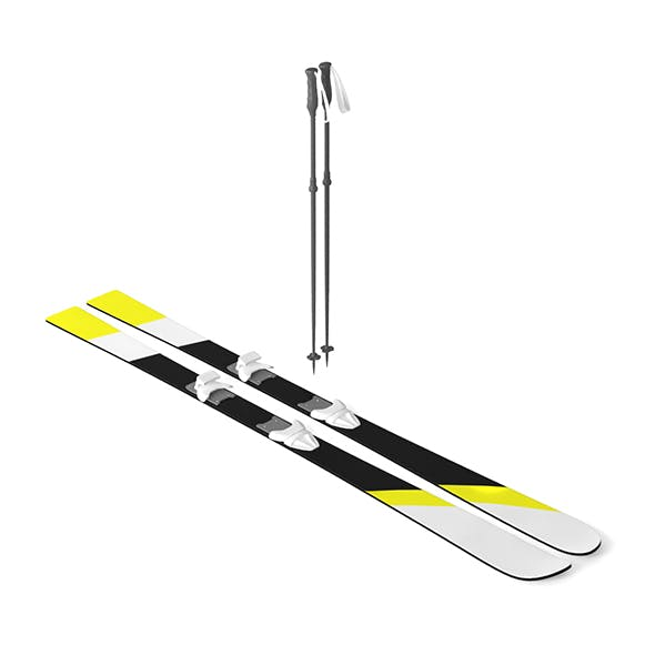Ski with Sticks - 3DOcean Item for Sale