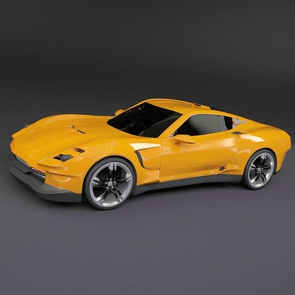 Yellow sports car concept